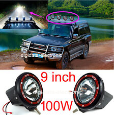 2PCS 9 INCH 100W HID Xenon Spot Fog Flood Light Truck 4WD Off Road Driving Lamp