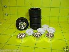 TIRES - 4  RAISED LETTER GOODYEAR RACING TIRES with RIMS COMBO- 1/25 Scale