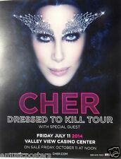 "CHER ""DRESSED TO KILL TOUR"" 2014 SAN DIEGO CONCERT POSTER - Beautiful Face Shot!"