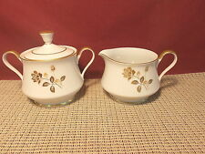 Arlen Fine China Dorado 1819 Pattern Sugar & Creamer Set & More Gold Rose Design