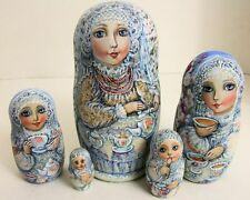 """5PCS HAND PAINTED ONE OF A KIND RUSSIAN NESTING DOLL """"TEA TIME"""" BY OLGA MOLOTOVA"""