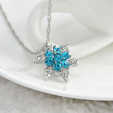 Charm Fashion Women Blue Crystal Snowflake Frozen Flower Silver Necklace Pendant