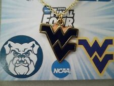 """NCAA Final Four 2010 West Virginia Mountaineers 18"""" Necklace in Gold Plate, NEW"""