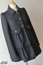 GOTH light COAT swing DOLLY vintage LOLITA quirky GREY wool RIVER ISLAND 8