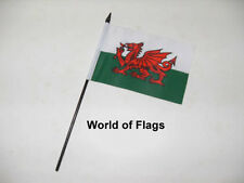 "WALES SMALL HAND WAVING FLAG 6"" x 4"" Welsh Red Dragon Crafts Table Desk Display"