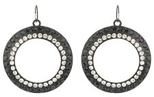 Zest Hoop Earrings with Crystals for Pierced Ears Black & Clear