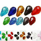 20Pcs Center Drilled Faceted Teardrop Crystal Loose Spacer Glass Beads 2 Size