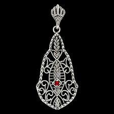 Fire Garnet 925 Solid  Sterling Silver Victorian Style Filigree Pendant, F4-6