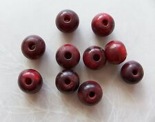 10 Pieces Smooth Red Horn Round Beads 12mm ~ Large Hole