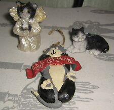 Vintage Set of 3 HOLIDAY Black White & Gray Angel CATS Christmas ORNAMENTS