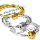 1 Snake Chain Gold/ Silver/Black Plated Charm Clasp Bracelet Fit European Beads