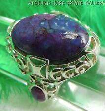 """7/8"""" PURPLE TURQUOISE STERLING SILVER 0.925 ESTATE COCKTAIL RING size 7.25"""