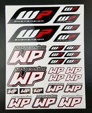 WP White Power shock fork sponsor decals set 9x12'' 26 stickers ktm suzuki honda