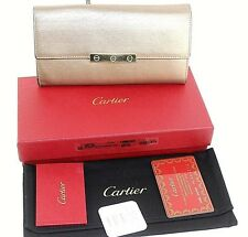 Authentic Cartier Shinning Bronze Goat Skin Leather Bifold Long Purse France