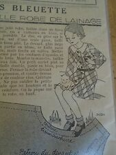 """ANCIEN PATRON POUR LA POUPEE """" BLEUETTE """" ROBE DE LAINAGE MARS 1936"""