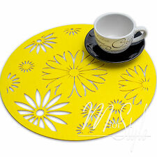PAIR of Yellow Round Felt Placemat Table Mat  Floral Design