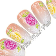 Nail Art Water Transfers Wraps Decals Pink & Yellow Flowers Roses Floral G086