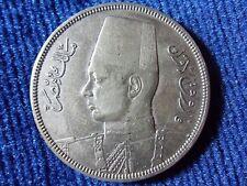 EGYPT 10 PIASTRES FAROUK 1937 AH 1356 SILVER