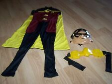 Size Small 4-6 Young Justice Robin Halloween Costume Jumpsuit w Cape Mask Belt
