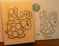 "Christmas turtle rubber stamp 2x2.5"" WM P14"
