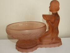 Art Deco Peach Glass Kneeling Lady with Bowl Figurine Centerpiece