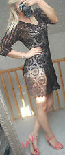 MONSOON women black  see through crochet dress beach dress 14 UK  42 Eur