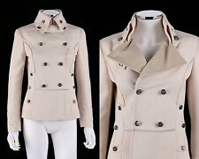 DOLCE & GABBANA OFF-WHITE MILITARY DOUBLE BREASTED WOOL BLEND BLAZER JACKET 38