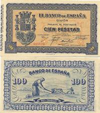 Billete. Banco de España. Gijón. Cien pesetas. Nº Serie 299613. Septiembre 1937.