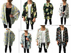 New Women Floral Oversized Loose Chiffon Kimono Blouse Cape Jacket Top Cardigan