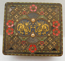 Vintage 1930s biscuit tin Huntley & Palmers Dragons flowers Oriental LEGEND box