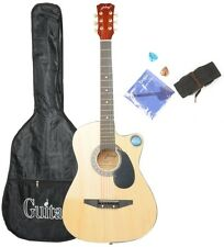 CSP-38C 38 Basswood Cutaway Acoustic Guitar Wood Color with Bag Strap Pick