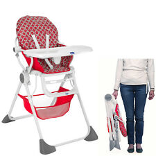 NEW CHICCO RED WAVE POCKET LUNCH HIGHCHAIR BABY FEEDING RECLINING HIGH CHAIR