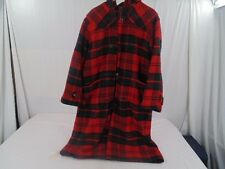 VTG POLO RALPH LAUREN RED PLAID WOOL FULL LENGTH HOODED TOGGLE COAT MEN XL - XXL