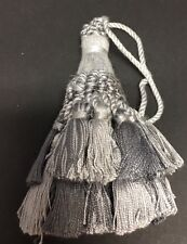 "4&1/2"" SILVER GREY GRAY TIED KEY TASSEL FABRIC  SEWING HOME DEC TRIM  LOT OF 2"