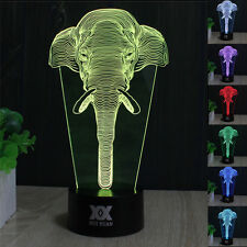 Animals Elephant 3D LED Night Light 7 Colour Touch Table Desk Lamp Creative Gift