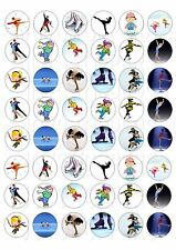 48 MINI ICE SKATING CUPCAKE TOPPER WAFER RICE EDIBLE FAIRY CAKE BUN TOPPERS