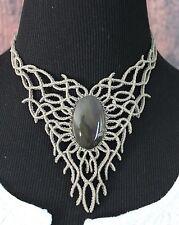 Elegant Obsidian Elvish Style Macrame Necklace Mexican Folk Art Hippie Boho