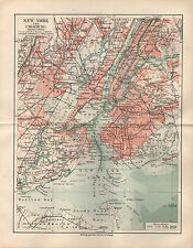1908 NEW YORK AND OUTSKIRTS City Plan Antique Map MEYERS