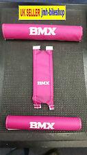 Vintage BMX Grips Pad Set Old School Pink Handlebar & Frame