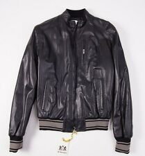 NWT D'ARIENZO Black Nappa Leather Moto Jacket Slim L/52 Baseball Cuffs Italy