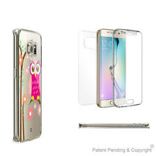 2-pack Clear Case Full Body Coverage for Samsung Galaxy S6 Edge with Pink Owl