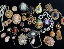 Lot Necklace Earrings Pin Brooch Vintage 2NOW Victorian Style Cameo Rhinestone B