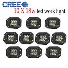 10pcs 18W Flush Mount 5inch LED Work Light Spot Beam Bumper Cube 4WD Truck Fog