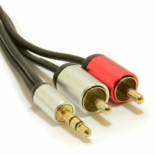 2m Aluminio Pro estéreo de 3,5 mm Jack A 2 Rca Phono Plugs Cable Gold [ 007524 ]