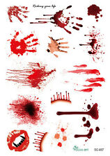 1pc Scary Bloody Body Face Scar Sticker Tattoos Halloween Party Props Decal