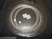 "LALIQUE FRENCH  CRYSTAL 2  LUNCHEON 8 3/4"" PLATES SET W / FREE FORM ETCHED"