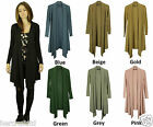 COLLECTION LONDON Womens Ladies Waterfall Hem Long Sleeve Thin Knit Cardigans