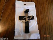 HATCHET MAN Polished Stainless Steel pendant on cross w/30 inch  ball chain
