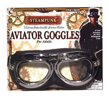STEAMPUNK SCIENCE #FICTION AVIATOR BLACK GOGGLES FANCY DRESS OUTFIT ACCESSORY