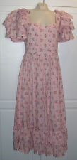 Vintage Laura Ashley Ruffles Sleeves Hem Pink Floral Dress SZ 12 US 14 UK 40 Eur